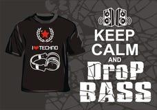 I love techno. Music design T-shirt for techno maniacs royalty free illustration