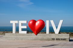'I Love Tel Aviv ' white big letters at Tel-Aviv port promenade royalty free stock images