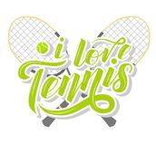 I love Tennis custom lettering text with tennis racets and ball on white background,  illustration. Royalty Free Stock Photos