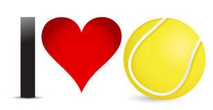 I love Tennis, Heart with Tennis Ball Inside Stock Images