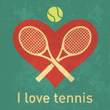 I love tennis logo with retro grunge paper texture. Layer isolated graphics for posters, brochure or web design royalty free illustration