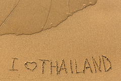 I love Thailand - inscription on a golden sand beach Royalty Free Stock Images