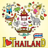 I love Thailand . Set Thai color vector icons and symbols Stock Photo