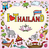 I love Thailand . Set Thai color vector icons and symbols Stock Images