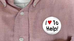 I Love to Help Button Pin Worker Customer Support 3d Illustratio. N Royalty Free Stock Image
