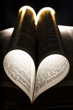 I love to read. A heart fromed in the pages of a bible Royalty Free Stock Photography
