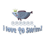 I love to swim. Design for printed products for children Royalty Free Stock Photo