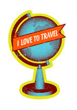I love to travel. Retro grunge style poster with globe. Vector illustration. Stock Photos