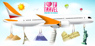 I Love to Travel Text with Flying Airplane with Hanging Vector Famous Landmarks Royalty Free Stock Image