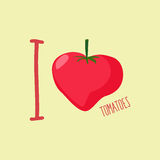 I love tomatoes. Heart of red tomatoes. Vector illustration Royalty Free Stock Photos