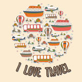 I love travel. Cartoon transport in the circle shape. Vector set Stock Image
