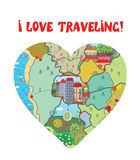 I love travel funny card with map Stock Photo