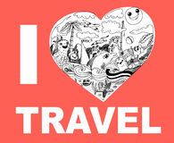 I love travel hand drawing doodles Stock Image