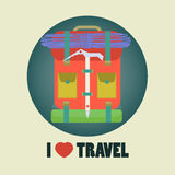I love travel icon flat design with backpack in ro Stock Photos