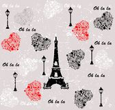 I love travel pattern paris. seamless background Royalty Free Stock Photo