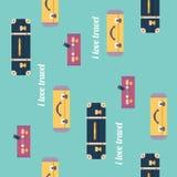 I love travel pattern. Vintage luggage background. Flat design s Stock Photos