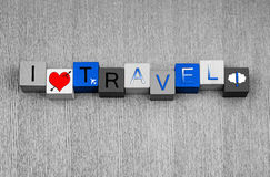 I Love Travel, sign series for business travel and flying abroad. I Love Travel, sign series for flight, international business travel and flying abroad royalty free stock photography