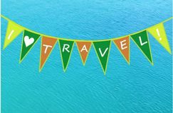 I love travel written on small flags Royalty Free Stock Photography