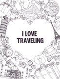 I love traveling poser. I love travelig poster. Sketch style touristic symbols in heart shape frame. Travel banner concept Royalty Free Stock Image
