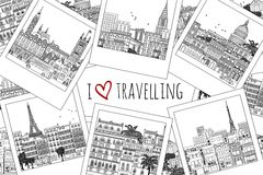 I love travelling - travel photographs. Set of hand drawn travel photographs with text I love travelling Stock Image