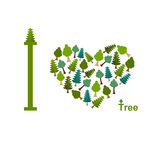 I love trees. Symbol heart of trees and firs.  illustratio Stock Image