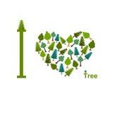 I love trees. Symbol heart of trees and firs. illustratio stock illustration