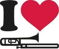 I love trombone icon. Vector royalty free illustration