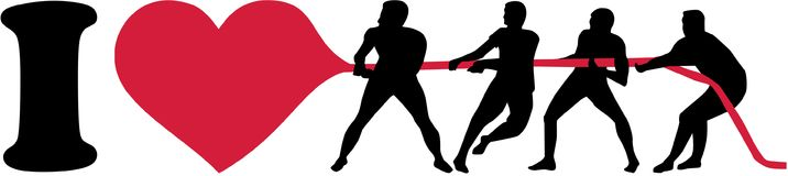 I love tug of war silhouette. Vector Royalty Free Stock Images