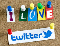 I love Twitter letters printed on paper and pinned on cork bulletin board Royalty Free Stock Photography
