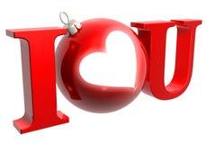 I love u. I love you with christmastree ball and heart Royalty Free Stock Photos