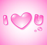 I love u. Water droplet i love u Royalty Free Stock Images