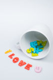 I LOVE U Colorful Letters with White Coffee Cup. For Valentines day Stock Images