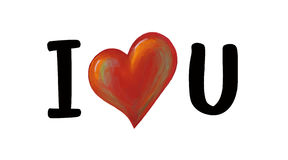 I Love U. Heart painting & design Royalty Free Stock Photo