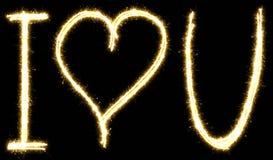 I love u lettering made of sparkler. Isolated on a black background royalty free illustration