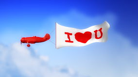 I Love U Plane in Clouds (Loop). Little plane with I LOVE U text on the banner, flying through clouds in seamless loop