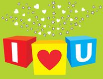 I love u sparkling cubes Royalty Free Stock Photo