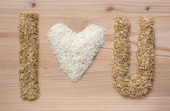 i love u symbol make fome rice and rice hulls Stock Images
