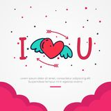 I love u for valentine`s day poster template stock image
