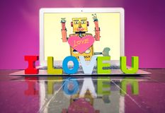 I LOVE U  with woden letters. On a laptop on a wooden floor Stock Photos