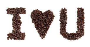 I love u word. I love u  word from coffee beans Stock Photo