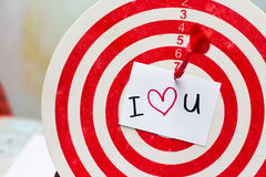 I love u wording on dartboard vintage effect by photoshop Stock Images
