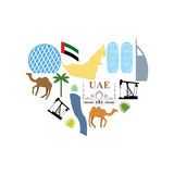 I love UAE. Symbol Heart attractions of  United Arab Emirates. M Stock Images