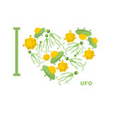 I love UFO. Symbol  heart of humanoid, alien and space saucer. Stock Image
