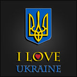 I love Ukraine. Stylish for t-shirts, mugs, caps Royalty Free Stock Images
