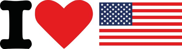 I love United States Flag. Vector stock illustration