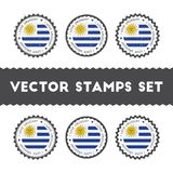 I Love Uruguay vector stamps set. Royalty Free Stock Photo