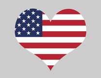 I Love The USA. Love The USA - Heart Shape With US Flag, Stars And Stripes Royalty Free Illustration