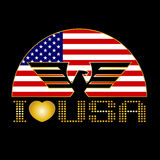 I Love USA. eagle and Flag of the United States vector design Royalty Free Stock Photos