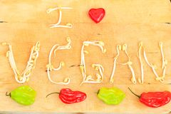 I love vegan words with heart royalty free stock images