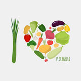 I love vegetables. Heart of  vegetables. healthy food. Vector il Stock Photography